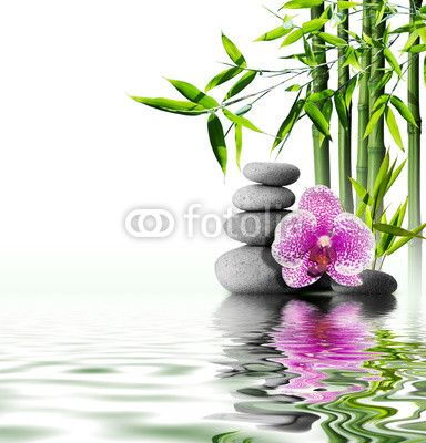 Panel Szklany Sand Orchid And Massage Stones In Zen Garden Purple Orchids Cross Paintings Mural