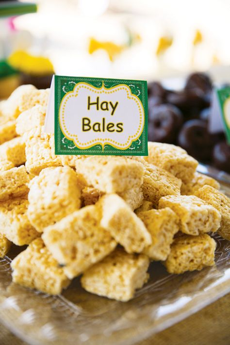 hay bale rice crispies and tractor wheel chocolate donuts or oreos