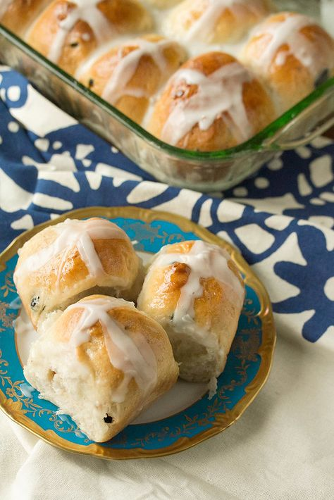 Blueberry-Lemon Hot Cross Buns: These new-school hot cross buns trade the traditional raisins and heavy spicing for a fresh spring-inspired combination of blueberry, almond and lemon.