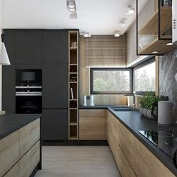 Aranzacja Kuchni I Salonu W Domu Jednorodzinnym Srednia Biala Kuchnia W Ksztalcie Litery Kitchen Furniture Design Kitchen Design Small Modern Kitchen Design