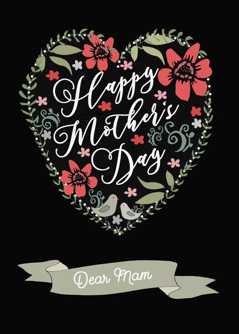 Dear Mam Happy Mother Rsquo S Day Heart And Flowers Card Ad Spon Happy Mother Dear Mam Happy Mothers Day Happy Mother S Day Happy Mothers