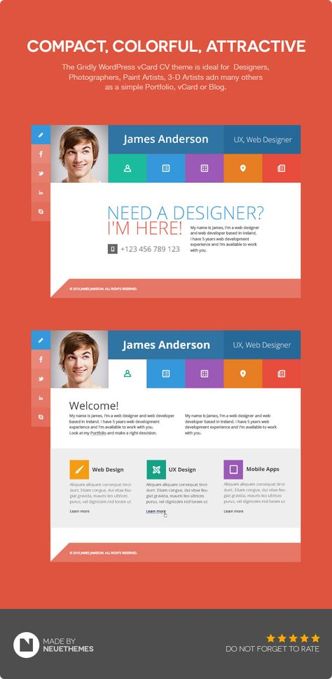 cards personal vcard resume cv portfolio wordpress theme