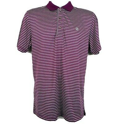 New Haggar Men's Chest-Striped Long Sleeve Polo Burgundy Size L,XL,2XL MSRP $46
