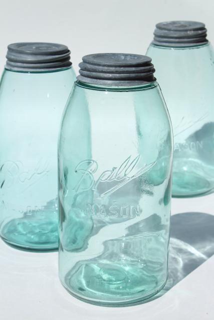 Vintage Ball Mason Canning Jars Antique Blue Glass Strong Slope