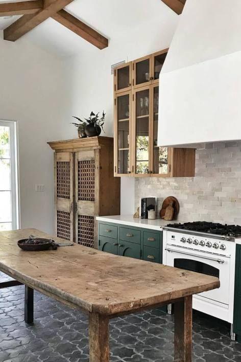 Rustic kitchen decor: Rustic wood table used as a kitchen island table in rustic kitchen #Decor #deko ideen #dekor baby #dekor bath #dekor ideas #dekor mirror #dekor wall #dekorazon #Home #Ideas #Inspiration #Rustic #wood decor