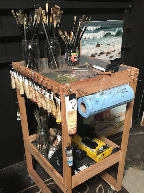 Art Studio Storage, Art Studio Organization, Art Storage, Art Supplies Storage, Art Studio Design, Art Studio At Home, Home Art, Painting Studio, Art Shed
