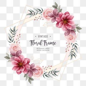 Watercolor Floral Flower Frame Wedding Invitation Watercolor Clipart Background Pattern Png Transparent Clipart Image And Psd File For Free Download Bingkai Bunga Kartu Pernikahan Cat Air Bunga