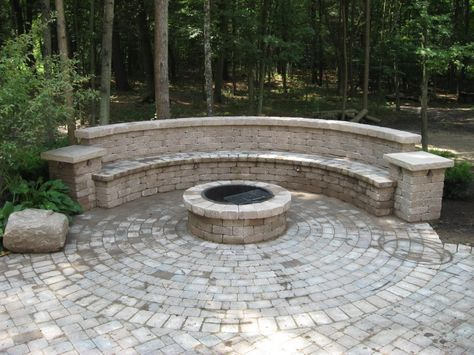 Large Paver Patio Fire Pit Bench Designs Google Search Ideias