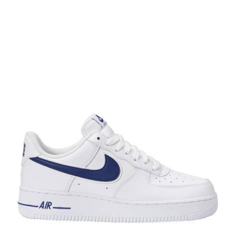 Air Force 1 '07 3 sneakers leer wit/blauw - Nike sneakers ...