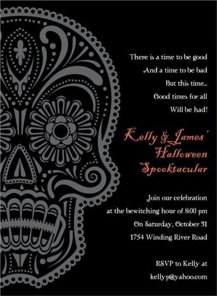 Day Of The Dead Party Invitation Wording Day Of The Dead Party Halloween Party Invitations Halloween Invitations