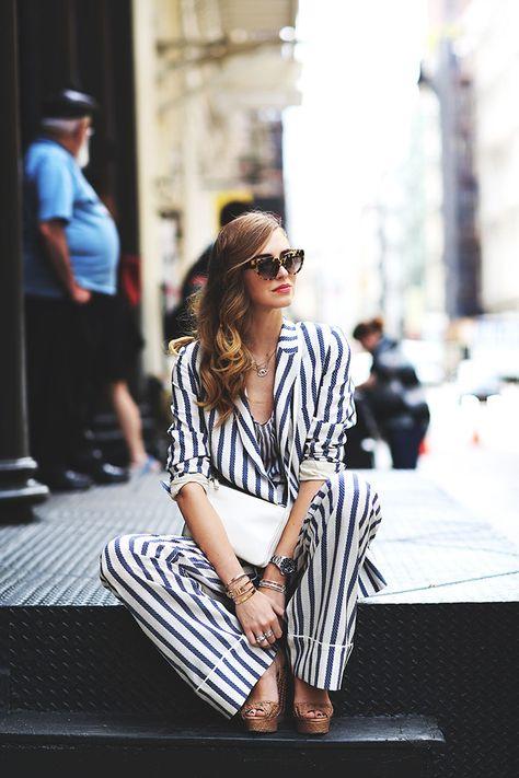 Striped Pantsuit | Women's Street Style