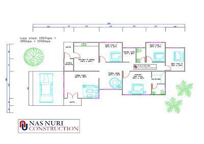 Pelan Rumah 1 Tingkat 4 Bilik Tidur 2 Bilik Air Banglo 1942 Kps House Design Study Areas Floor Plans