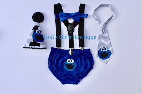 Cookie Monster 1st Birthday Outfit Boy Sesame Street Smash Cake 2nd 3rd Blue And Grey