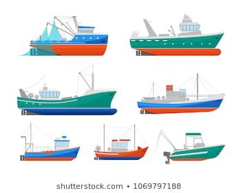 Cartoon Fishing Boats Icons Set Ship Or Vessel Marine Transport Elements Concept Flat Design Style Vector Illustration O Boat Icon Cartoon Ships Fishing Boats