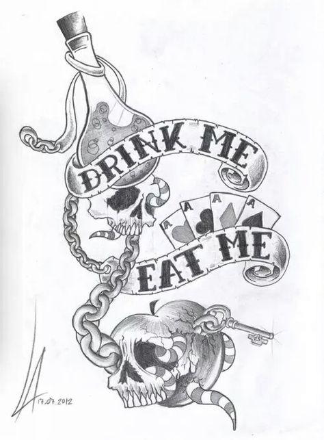 Alice Im Wunderland Zeichnen Tattoo Wunderland Tattoo Alice Im