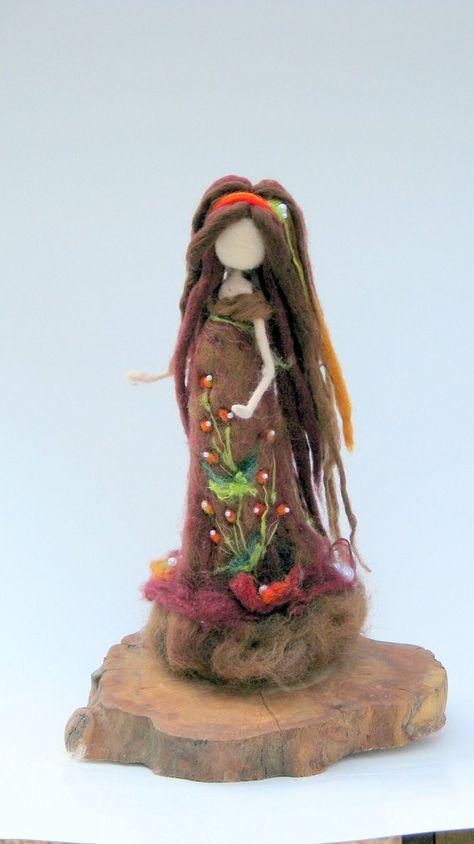 Fantasy doll Art doll Needle felted Autumn Lady Waldorf inspired Fantasy doll