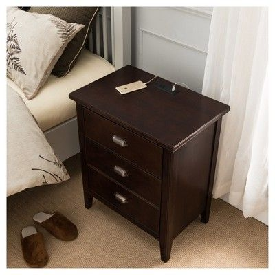 2 Door Electrical Outlet Nightstand Cherry Red Leick Furniture