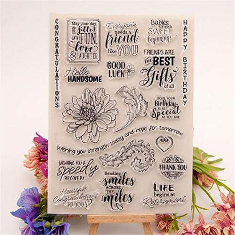Joyful Home 1pc English Sentiment Rubber Clear Stamp for Card Making Decoration and Scrapbooking
