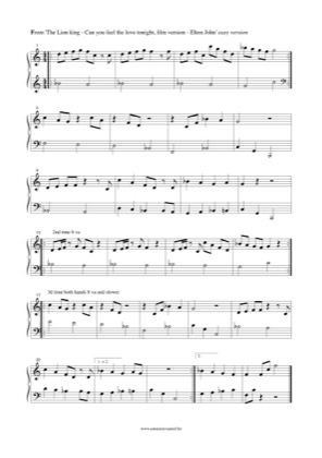 Can You Feel The Love Tonight Easy By The Lion King Piano Sheet