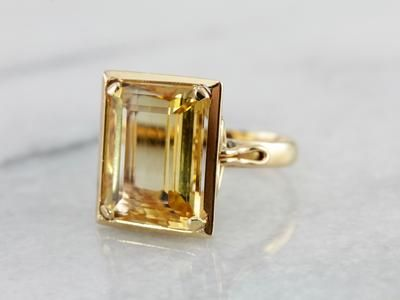 So Very Mod: Citrine Cocktail Ring in Yellow Gold Silver Stacking Rings, Silver Rings, Jewelry Gifts, Fine Jewelry, Modern Jewelry, Jewelry Box, Jewelry Making, Emerald Cut Rings, Vintage Emerald Engagement Rings