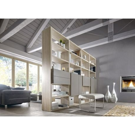 Bibliotheque Gautier Preface Decor Imitation Chene Naturel Et Facade Taupe Sur Panneaux De Particules Furniture Bookcase Home Decor