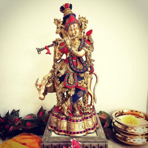 """26"""" Lord Krishna & Cow idol - Brass Turquoise Inlay"""