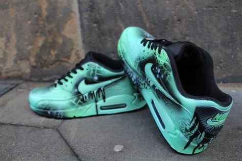 Custom Nike Air max 90 menthe Black Abstract graffiti Drip