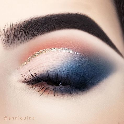 makeup geek Orange Blue Glitter Half Cut Crease anniquina Products used: Makeup Geek Single Eyeshadows in White Lies, Morocco, Peacock, Urban Decay Heavy Metal Glitter Eyeliner in Midnight Cowboy, Essence I Love Extreme Volume Mascara Waterproof Makeup Eye Looks, Cute Makeup, Gorgeous Makeup, Makeup Geek, Makeup Inspo, Eyeshadow Makeup, Makeup Art, Beauty Makeup, Makeup Ideas