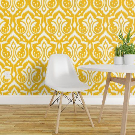 Peel And Stick Removable Wallpaper Damask Yellow Modern Happy Gold Abstract Walmart Com Decor Removable Wallpaper Accent Wall Bedroom