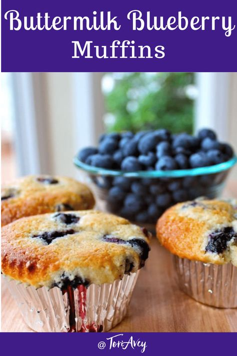 Buttermilk Blueberry Muffins - Deliciously Fluffy Muffins Made with Buttermilk, Blueberries and a Crunchy Sugar Topping. Dairy Free Option. | ToriAvey.com #blueberrymuffins #bakedgoods #breakfast #brunch #muffins #baking #blueberries #dairyfree #kosher #TorisKitchen