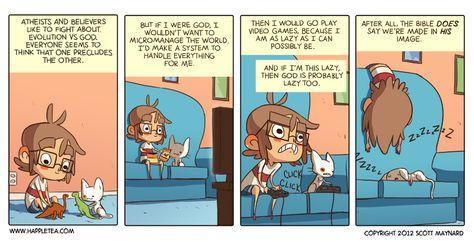 Happle Tea: God is a lazy video game nerd  | Comics that