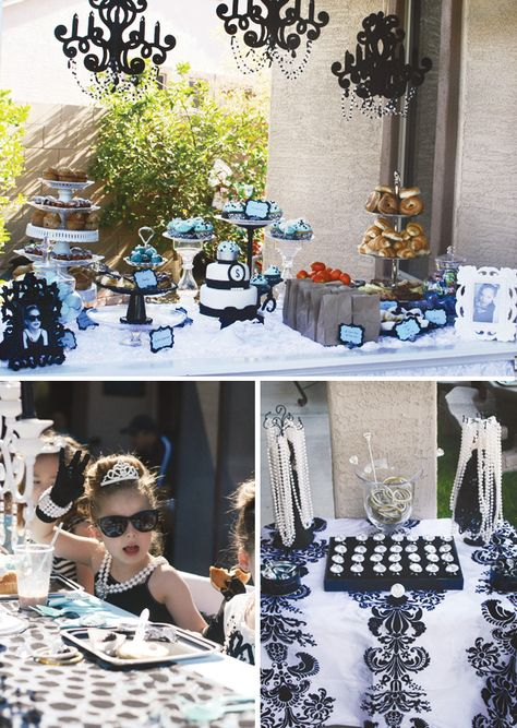 Breakfast at Tiffany's themed little girl birthday party. I would do it for an older party like 10 or 12 so I could screen the movie and they would know what it is...  Best idea EVER if only I had a little girl