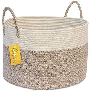 Organihaus Xxl Extra Large Cotton Rope Basket 20 X13 5 Blanket Storage Basket With Long Handles Storage Baskets Blanket Storage Basket Woven Baskets Storage