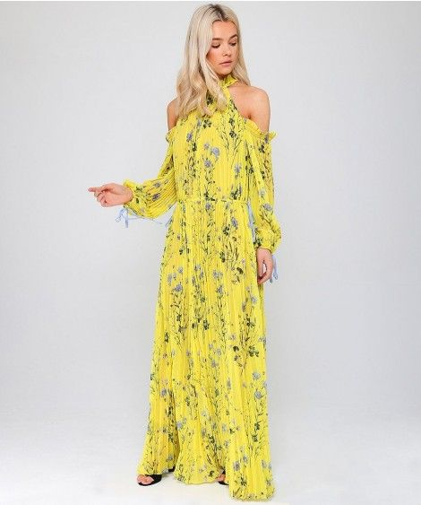 e0a26cc3bf9c4 Self-Portrait Floral Print Cold-Shoulder Maxi Dress Colour: Yellow, Si