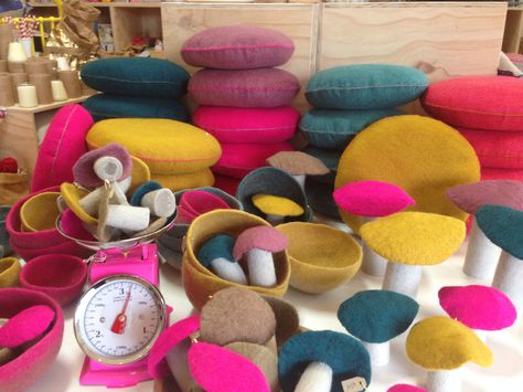 Felt Smartie cushions hand made in France @ Amarillo+