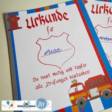 Feuerwehr Kindergeburtstag Urkunde Kindergeburtstag Basteln Kindergeburtstag Feuerwehrmann Sam Geburtstag