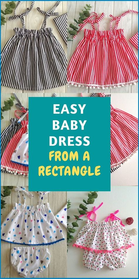 Minute Baby Dress from a Rectangle - Sew Crafty Me Baby Bloomers Pattern, Baby Dress Patterns, Baby Clothes Patterns, Clothing Patterns, Skirt Patterns, Coat Patterns, Blouse Patterns, Baby Dress Pattern Free, Pillowcase Dress Pattern