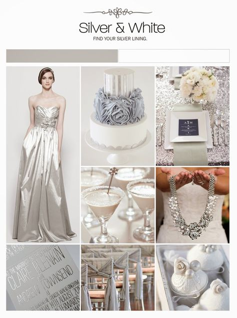 silver and white wedding inspiration board, color palette, mood board via Weddings Illustrated