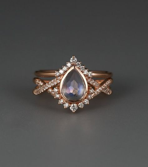 Moonstone engagement ring Rose gold Diamond wedding band Women Curved Chevron Pear shaped Twisted Bridal Jewelry Anniversary gift for her – Engagement Rings Engagement Ring Rose Gold, Dream Engagement Rings, Gold Diamond Wedding Band, Engagement Ring Settings, Vintage Engagement Rings, Engagement Rings For Women, Coloured Engagement Rings, Diamond Rings, Nontraditional Engagement Rings