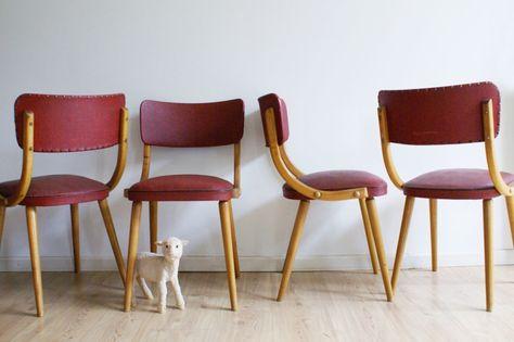 Eetkamerstoelen Design Stoelen.4 Fantastische Houten Vintage Eetkamerstoelen Set Retro Design