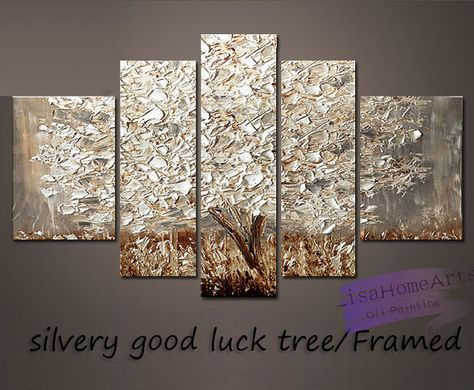 Hand-painted Big modern wall art living room home decor abstract silvery good luck tree thick palette knife oil painting on canvas framed