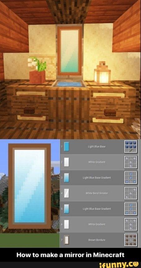 How to make a mirror in Minecraft Minecraft Villa, Cute Minecraft Houses, Minecraft Mansion, Minecraft Banner Designs, Minecraft Plans, Minecraft Room, Amazing Minecraft, Minecraft House Designs, Minecraft Tutorial