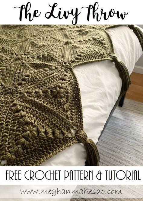 The Livy Throw-Free Crochet Pattern — Meghan Makes Do - Modern crochet patterns - Crochet Afghans, Modern Crochet Blanket, Afghan Crochet Patterns, Crochet Granny, Crochet Stitches, Knitting Patterns, Baby Afghans, Crochet Blankets, Crochet Throw Pattern