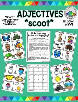 Adjectives Scoot With Pictures For Primary Grades With A Variety