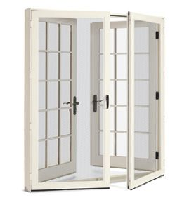 French doors outfitted with screens. Integrity Windows