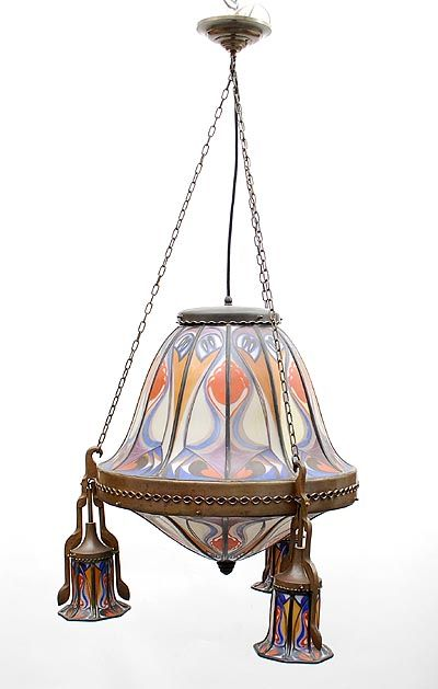 Gebrandschilderde Amsterdamse School Glas In Lood Hanglamp Met Een Grote En Drie Kleine Kapjes Hangend Aan Ges Art Deco Verlichting Art Nouveau Art Deco Lampen