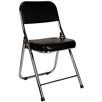 Cosy7 Kiera Collection Deluxe Padded Faux Leather Folding Chairs Black Set Of 2 Strong Steel Frame Comfy Cushioned Seat Folding Chair Chair Tempered Glass