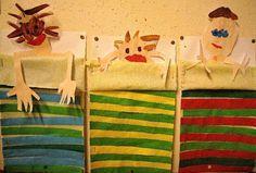 een dekentje plakken van papierstroken. En onder het echte lakentje liggen de patienten in ondergoed.