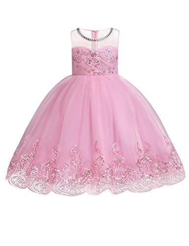 Girls Flower Embroidery Ruffles Dress Party Wedding Dresses For Kids Ball Gown