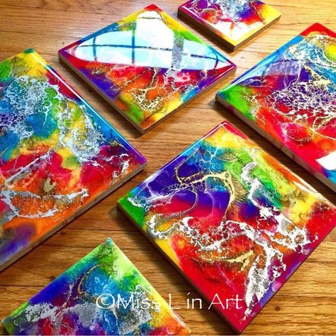 6 x 6 Rainbow Abstract Painting Resin Art Resin Painting Rainbow Art Modern Art Wall Art Trivet Home Decor Resin I want to make